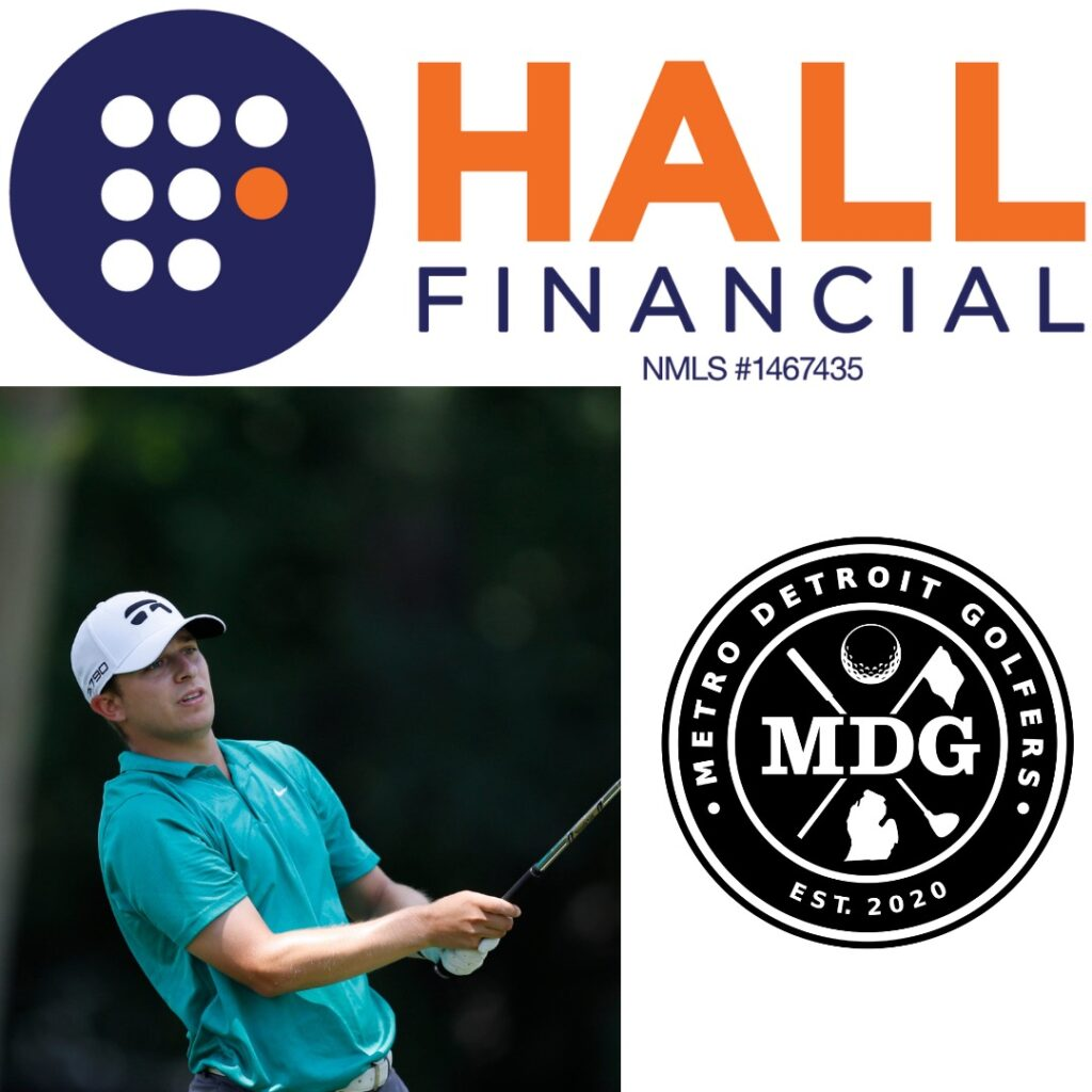 Hall Financial and MDG logos along with Donnie Trosper swinging while playing golf