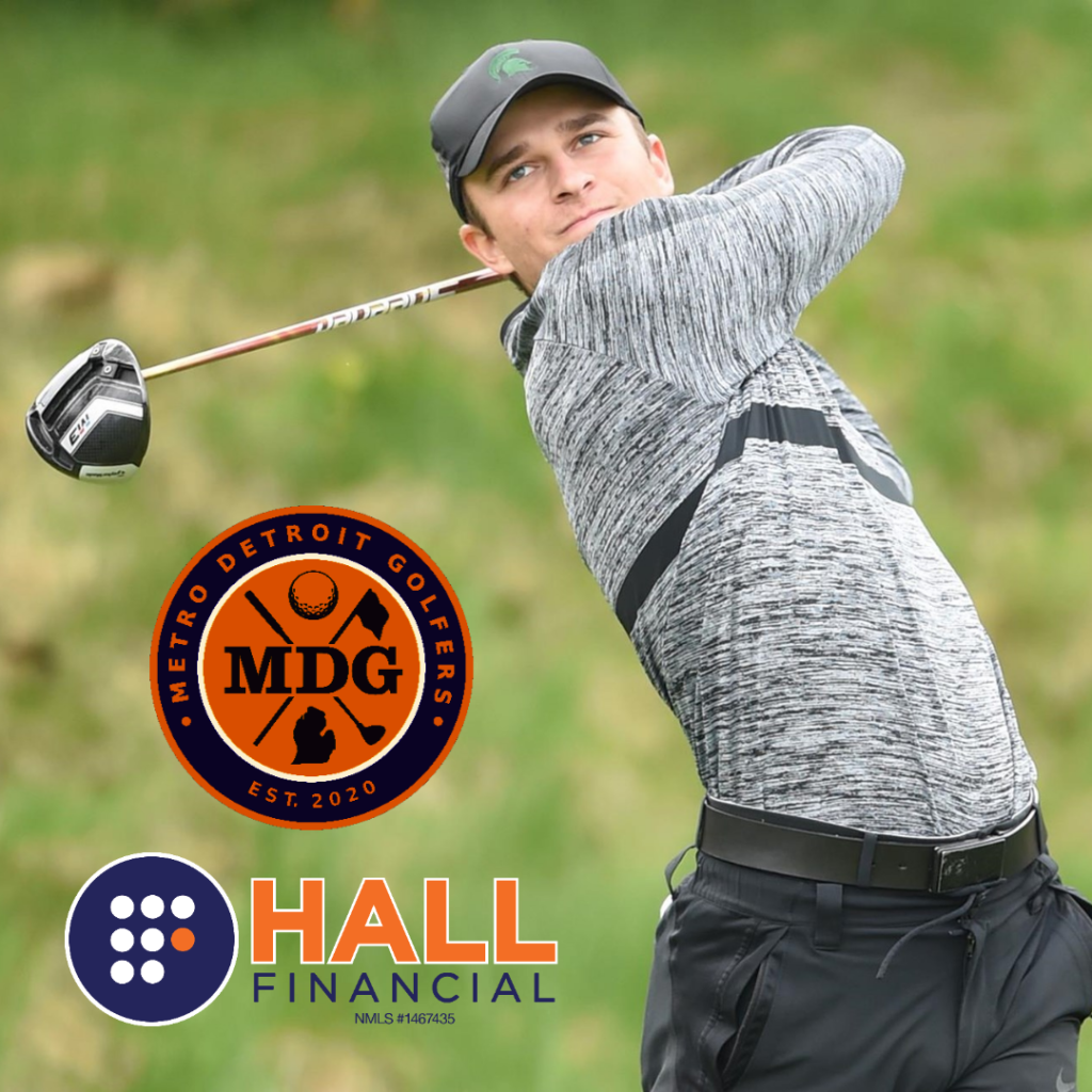 Donnie Trosper is seen swinging a club. Metro Detroit Golfers and Hall Financial logos are below him.