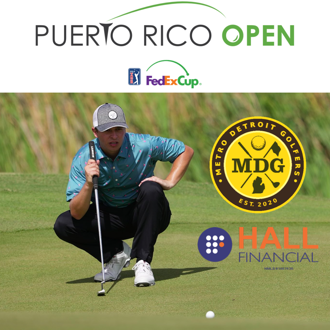 Donnie Trosper on putting green with Puerto Rico Open, FedEx Cup, MDG and Hall Financial logos